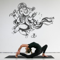 kik514 Wall Decal Sticker Indian god Ganesha Hindu welfare bedroom living room yoga room
