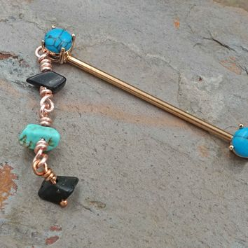 Turquoise Industrial Barbell Scaffold Piercing