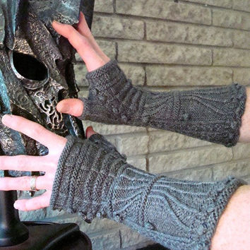 Gillaspie Gothic Gauntlets Knitting Pattern Medieval Fingerless Gloves