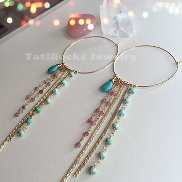 Sweet Surrender Fringe Hoop Earrings,  Turquoise Hoop Earrings, Turquoise Earrings