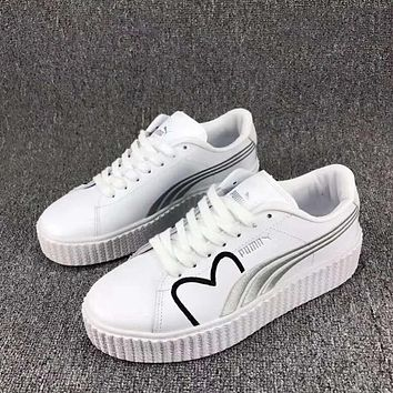 PUMA Basket Women Casual Running Sport Shoes Sneakers White Black Silver I-CSXY