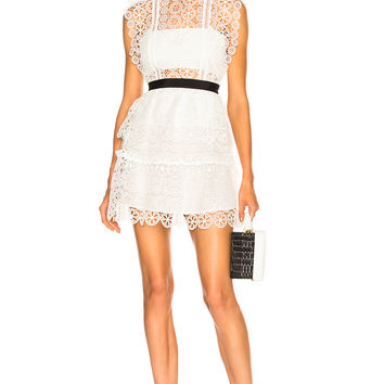 self-portrait Circle Floral Lace Tiered Mini Dress in White | FWRD