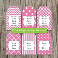 Gift Tags Printable diy Party Tags Editable JPG File Gum Pink INSTANT DOWNLOAD Digital Collage Baby Shower Birthday Decorations 005