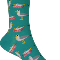 Happy Seagull Crew Socks in Jade