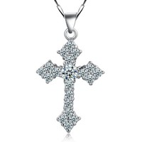 18K White Gold Plated Holy Cross Crystal Pave Pendant Necklace