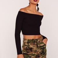 Missguided - Basic Bardot Knitted Ribbed Cropped Jumper Black