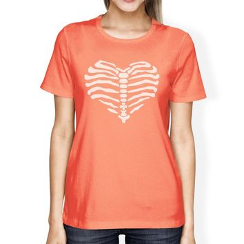 Skeleton Heart Womens Peach Shirt
