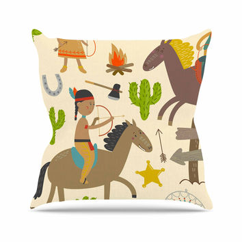 "Petit Griffin  ""Tipi"" Brown Kids Throw Pillow"