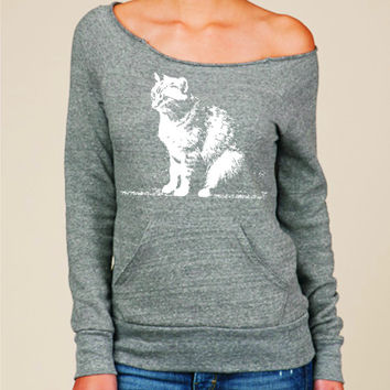 Cat sweater Abby on womens off the shoulder sweatshirt eco friendly Alternative Apparel slouchy sweater