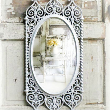 F I L I G R E E  Oval Shabby Chic Mirror Hollywood Regency Moroccan Bombay