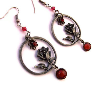 Black and Red Earrings, Black Gray Hoops, Red Rose, Beaded, Bold Dramatic Earrings, Art Nouveau Style