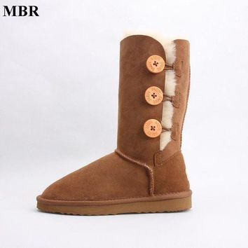 DCK7YE MBR sheepskin leather suede winter snow boots for women real sheep fur wool lined wint