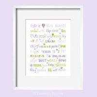 Three Little Birds Bob Marley Print Song Quote in purple, green and brown for Camille bedding 11x14 by YassisPlace, Many Colors