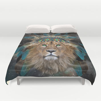 Fight For What You Love (Chief of Dreams: Lion) Tribe Series Duvet Cover by soaring anchor designs ⚓ | Society6