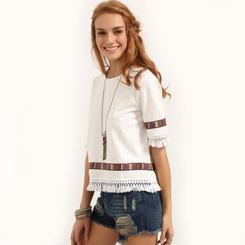 Summer Womens Casual Tops Round Neck Half Sleeve Patchwork Blouse