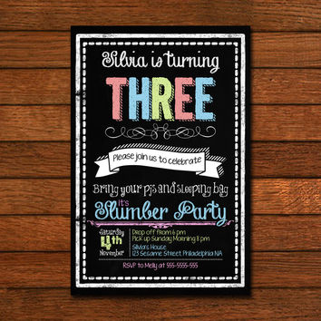 Chalboard Slumber Party Design Invitation