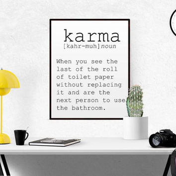 "Surreal art print name definition ""Karma"" Scandinavian Design Funny Decor Funny Poster Funny Bathroom Decor Closet Decor Printable Wall Art"