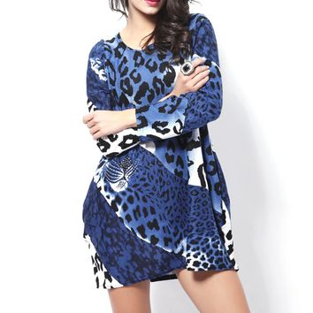 Fashion All-match Autumn Women's Ladies Leopard Pattern O-Neck Long Sleeves Soft Flannel Loose Sexy T-shirt Dress Top One