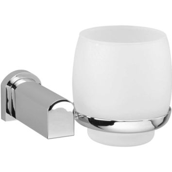 Bellaterra Wall Frosted Glass Toothbrush Toothpaste Holder Bath Tumbler, Brass