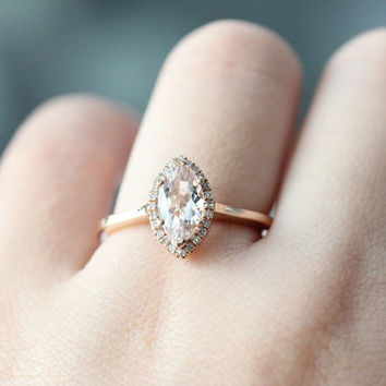 Unique Ring!!!14k Rose Gold Engagement Ring 5x10mm Marquise Cut Morganite Ring Anniversary Ring Rose Gold Bridal Wedding Ring Diamond Ring