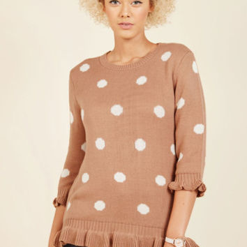 Filled With Frill Polka Dot Sweater | Mod Retro Vintage Sweaters | ModCloth.com