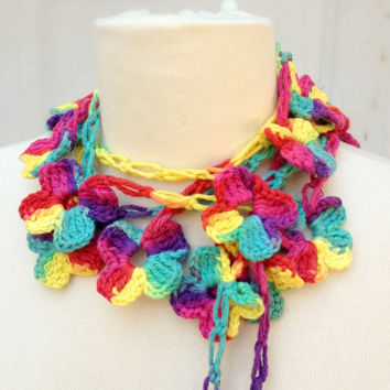 Colorful Flower Crochet Scarf, Lariat, Fashion, Autumn Trend, Unique Accessory, Christmas Gift, Affordable, Under 25, Gift For Her, Birthday