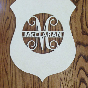 Personalized Police Badge with monogram door/wall hanger (unfinished)