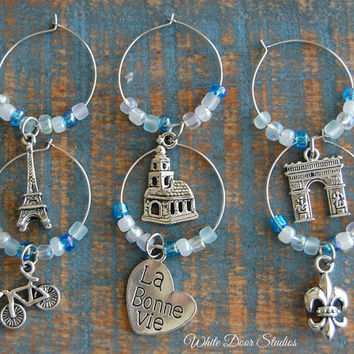 Paris Themed Wine Glass Charms, Set of 6, Wine Charms Gift Set, Paris Travel Decor