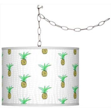 Pineapple Giclee Shade Plug-In Swag Pendant Chandelier