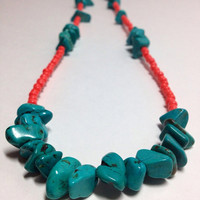 Large Turquoise Chips with Bright Tropical Orange Czech