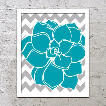 Turquoise Gray Flower Chevron Wall Art Turquoise Teal Artwork Colorful Dahlia Baby Decor NURSERY Print Bedroom Bathroom Choose Any Color