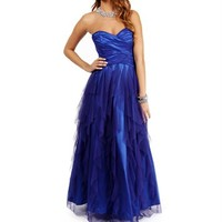 Gianela-Purple/Blue Tiered Long Prom Dress