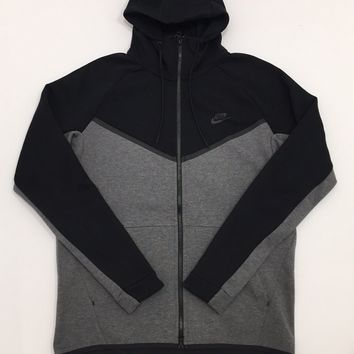 KUYOU Nike Sportswear Tech Fleece Full Zip Up Hoodie Black Charcoal Heather Black 885904-010