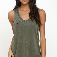 The Racer Washed Olive Green Tank Top