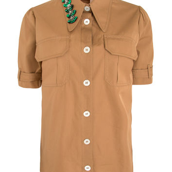 Trench Sequin Embellished Point Collar Shirt