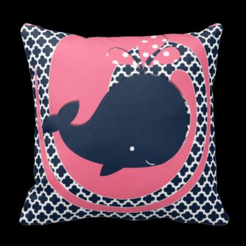 Navy Whale on Pink and Navy Throw Pillow