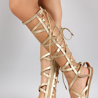 Shoe Republic Metallic Elastic Back Gladiator Knee High Flat Sandal