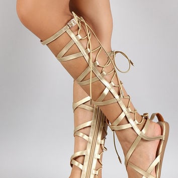 d84d8cc05d72 Shoe Republic Metallic Elastic Back Gladiator Knee High Flat Sandal