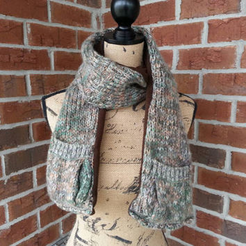 Recycled Sweater pocket scarf, scarf with pockets, winter scarf, fleece scarf, sweater scarf, pocket fashion scarf, long cozy scarf