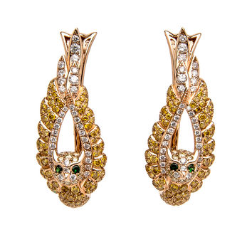 Golden Diamond Owl Earrings
