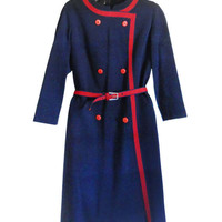 1960s Dress Navy Blue Dress Red and Blue Long Sleeve Dress 60s Clothing Spring Dress Women Knee Length Dress 1960s Clothing Ladies Dress