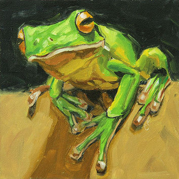 "Animal art, original oil painting of a tree frog, 6x6, ""Leap of Faith"""