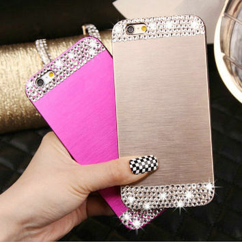 "Luxury Handmade Bling Diamond Rhinestone Aluminum Metal Brush Hard Back Case Cover For iphone 4 4S 5 5S 6 4.7"" 6 Plus 5.5"" Shell"