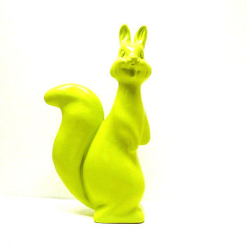 neon squirrel figurine  //  lime green, chartreuse, upcycled home decor, pop art, kitsch, woodland, squirrels
