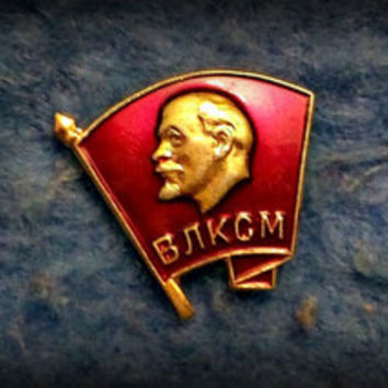 "Lot of 3 Vintage Badge Pin Lenin ""VLKSM"" Soviet Russian Communism"