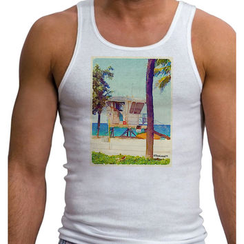 Lifeguard Station Watercolor Mens Ribbed Tank Top