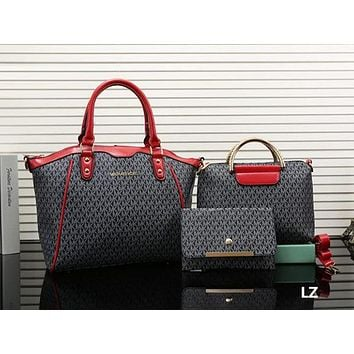 Perfect MK Women Shopping Bag Leather Shoulder Bag Tote Handbag Wallet Set Three piece