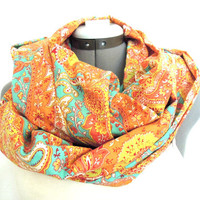 Infinity Scarf // Paisley // Teal and Orange