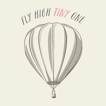 fly high TINY one  // Girl & Boys Nursery Art // Vintage Style Kids Decor // Unique Baby Shower Gift