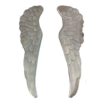 Vintage Distressed Pressed Tin Angel Wings - Wall Decor 37-in